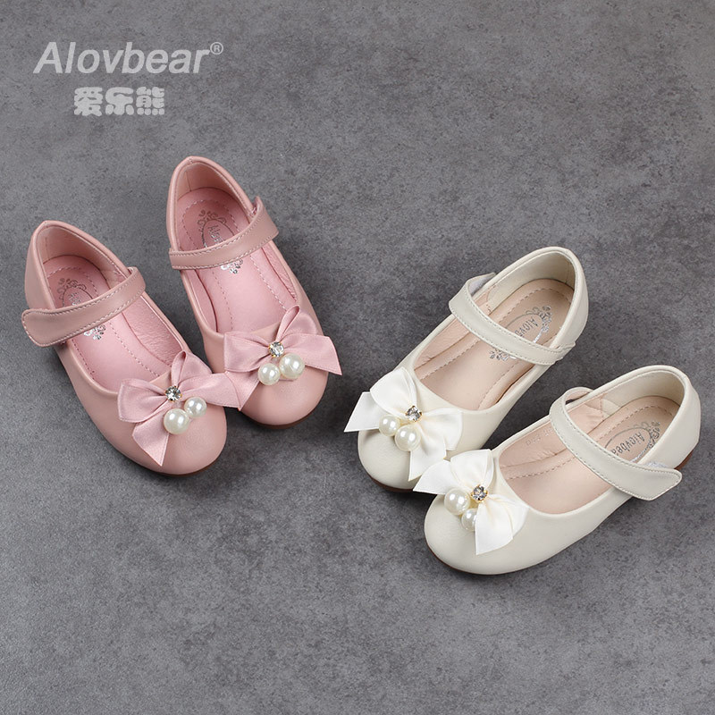Alovbear Brand Girl Leather Shoes Children Princess shoes PU 2 colors Casual Baby Flower Pink Girls Fashion Shoes Free Shipping