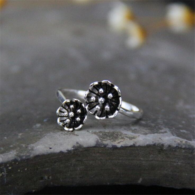 Fyla Mode 100% 925 Sterling Silver Ring Double Rose Flower S925 Solid Silver Rings for Women Jewelry 925-sterling-silver-ring