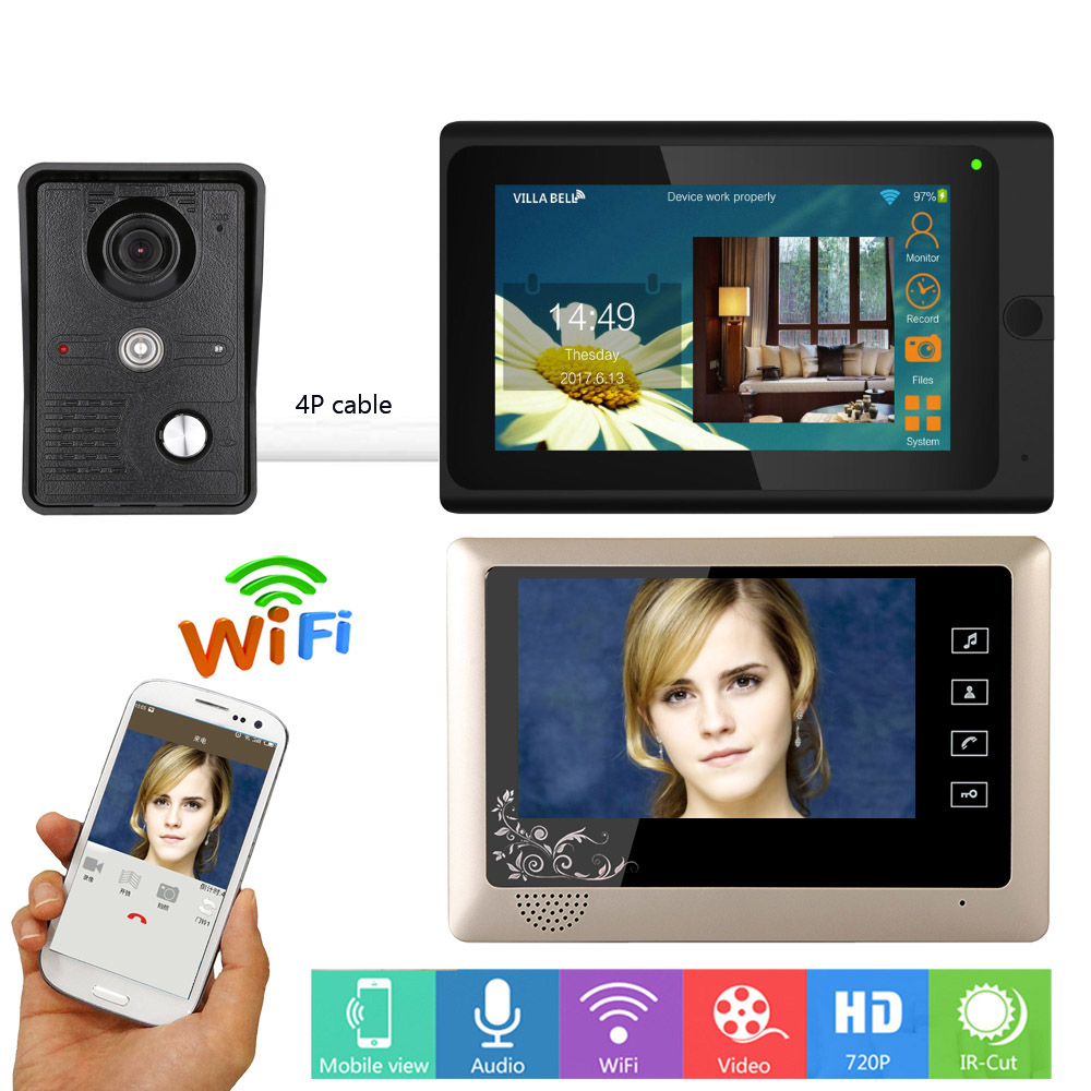 720P Wired /Wireless Wifi Video Door Phone Doorbell Intercom System HD 1000TVL Camera 7 Inch 2 Monitor With APP Remote Control