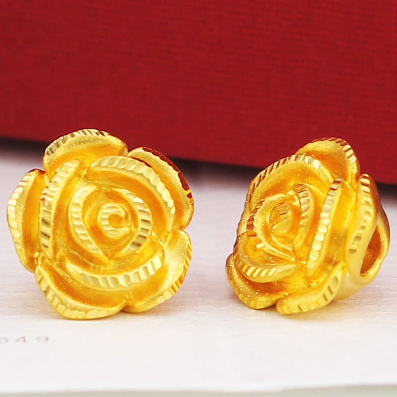 1PCS Real 999 24k Yellow Gold Pendant 3D Women 3D Rose Flower Only Pendant 12x9mm
