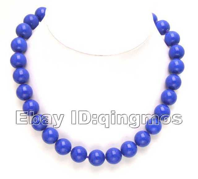 """SALE  Big 12mm Round high luster Blue Jade 18"""" Necklace-5275 Wholesale/retail  Free shipping"""