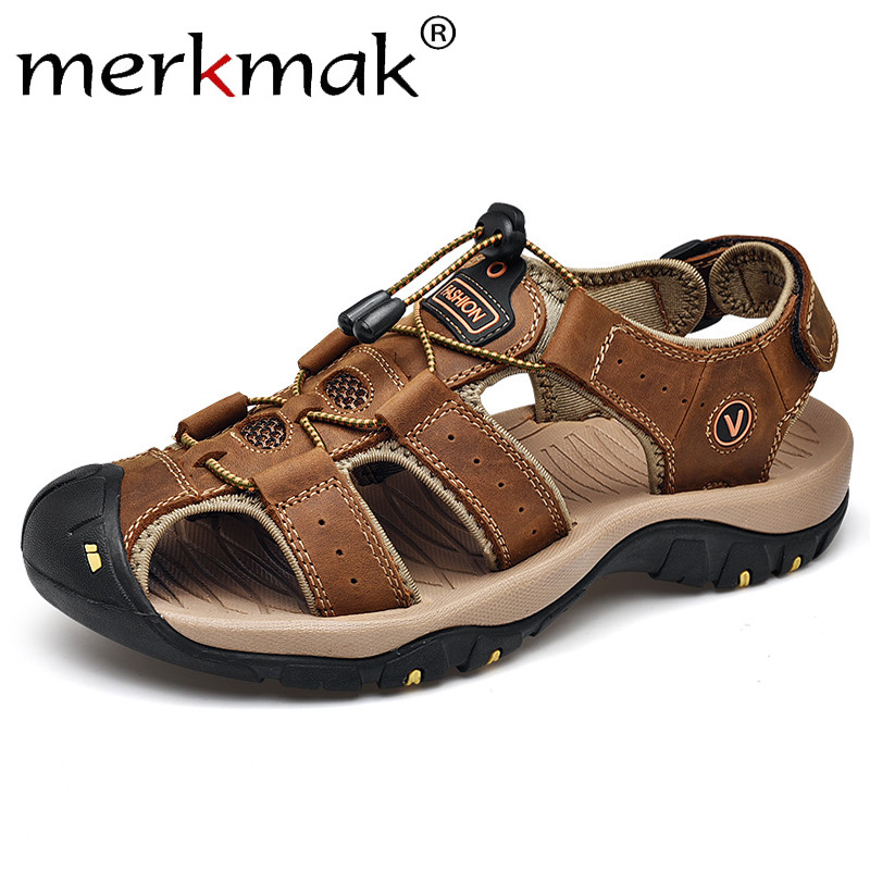 Merkmak Men Shoes Genuine Leather Summer Men Sandals Elastic Band Man Shoes Beach Sandals Men's Outdoor Casual Big Size 47 Flat