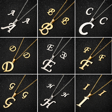 Yiustar Gold Stainless Steel Name Letter Necklaces Women Girls Personalized Jewelry Kids Alphabet Initials collares Gifts