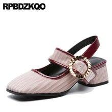 Slingback Brand Sandals Designer Velvet Square Toe Suede Thick Metal Block  Heels Shoes For Women Size 37db972b3f98