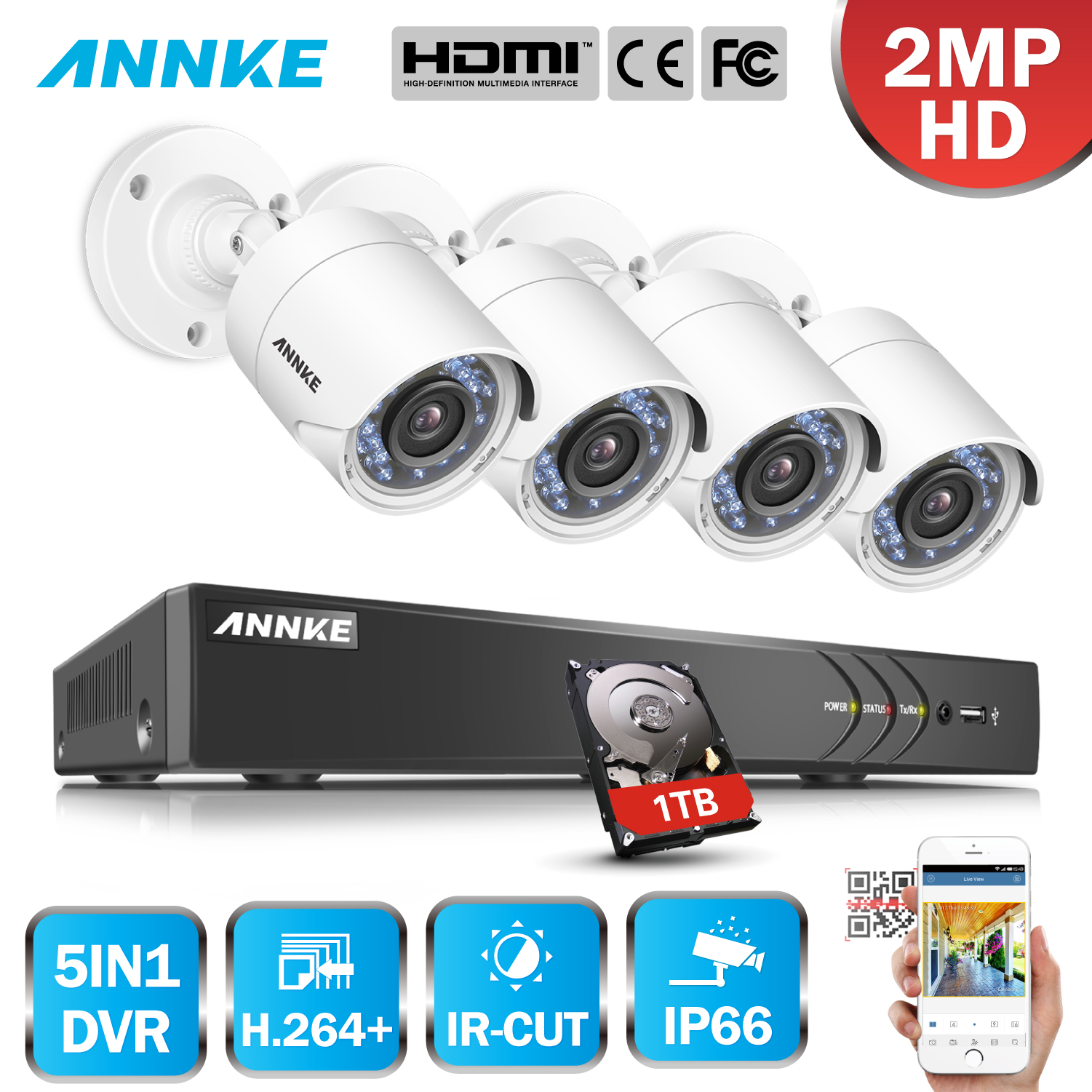 ANNKE 8CH 3MP HD TVI CVI AHD IP 5in1 H.264+ DVR 4pcs 2MP 1080P Weatherproof Camera Smart IR CCTV Security Surveillance System
