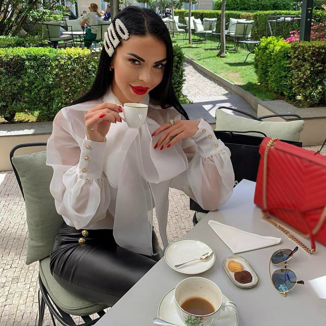 Women Bowtie Thin Tulle Transparent Blouses Lantern Sleeves See Through Shirts Vintage Elegant Ladies Fashion Casual Blusas in Blouses amp Shirts from Women 39 s Clothing