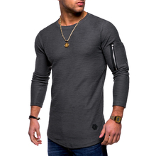 2018 new men's brand T-shirt jacquard curve hem solid color round neck long-sleeved hip-hop T-shirt zipper decorative streetwear black round neck long sleeves curved hem t shirt