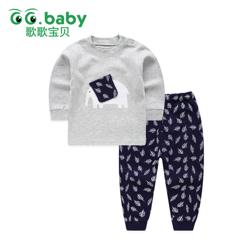 Baby Boys Newborn Pajamas Outfit Animal Elephant Long Sleeve Baby Clothes Boy Suit Baby Sleepwear Girl Infant Kids Clothing Sets children s suit baby boy clothes set cotton long sleeve sets for newborn baby boys outfits baby girl clothing kids suits pajamas