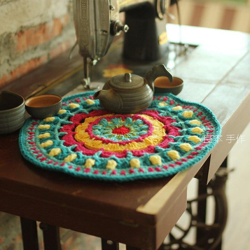 30 cm Diamètre crochet coton table napperon rond pad tissu napperon tasse tasse titulaire de dessous de verres à la main à manger décoration