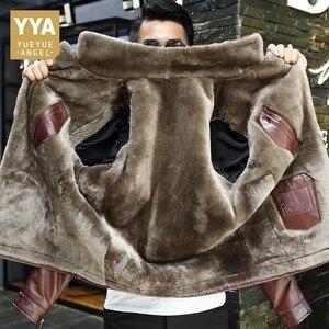 Image 1 - 冬のビジネスの男性本革ジャケット厚いウールライニングショートコートのオフィス作業高級シープスキンムートンレザーコートをジャケットプラスサイズ