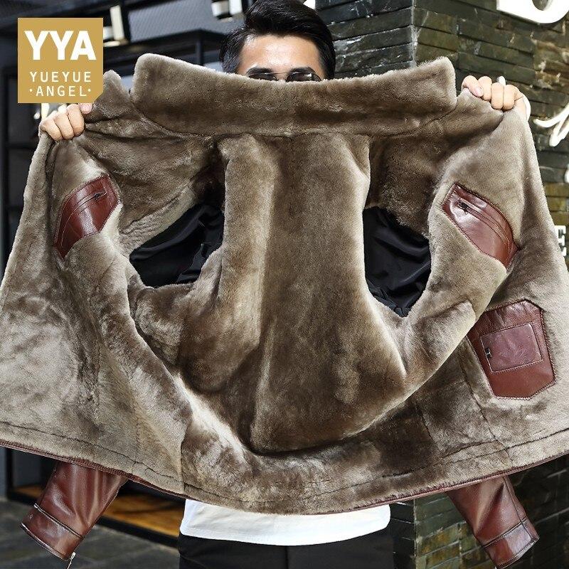 Hiver affaires hommes en cuir véritable veste épaisse laine doublure manteau court bureau travail de luxe en peau de mouton Shearling vestes grande taille