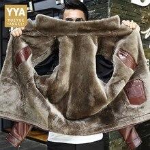 겨울 비즈니스 남성 정품 가죽 자켓 두꺼운 양모 안감 짧은 코트 사무 작업 럭셔리 양모 Shearling Jackets Plus Size
