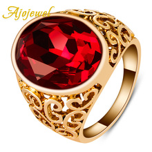 цена Free Shipping Brand Jewellery 18K Gold Plated Big RED Zircon Ring For Men