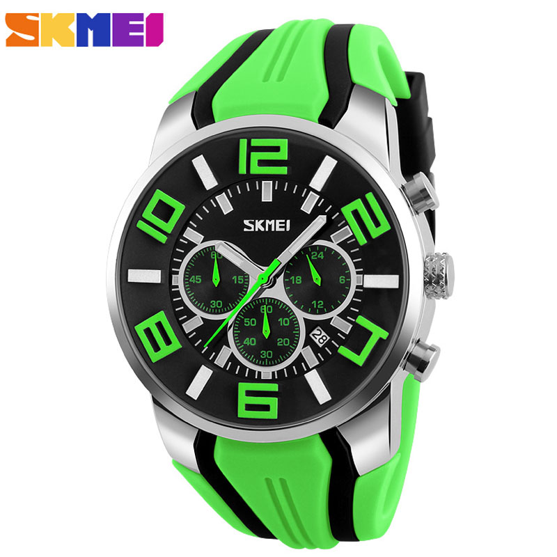 SKMEI Brand Six pin Stopwatch Chronograph Sports Watches Men Waterproof Silicone Quartz Watch Students Fashion Casual