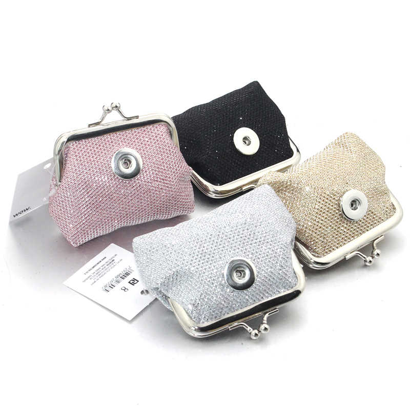 18MM Snap Button Jewelry Crystal powder Coin Purse For Women Bracelet 9116