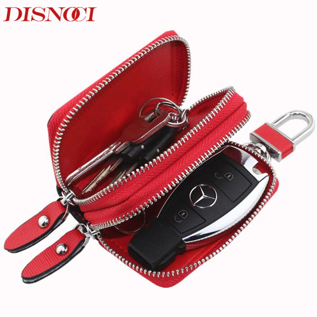 d2cf011ee91bf DISNOCI Housekeeper Key Bag Cow Split Leather Car Key Organizer Key chain  Case Women Double Zipper Key Holder Cases Men Wallets