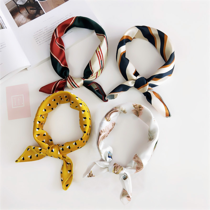 50*50cm Square Silk Feel Satin Scarf Elegant Women Head Skinny Retro Hair Tie Band Small Fashion Square Kerchief Neck Scarf