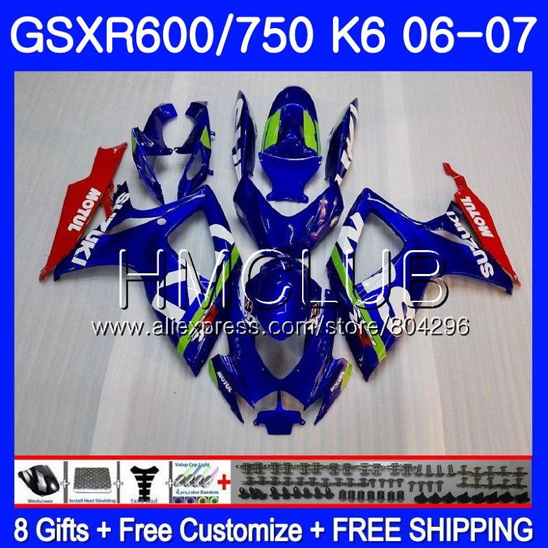Corpo Para SUZUKI GSXR 600 750 GSX R750 GSX-R600 06 07 5HM. 0 GSXR600 06 07 GSXR-750 K6 GSXR750 2006 2007 kit Carenagem azul Fábrica