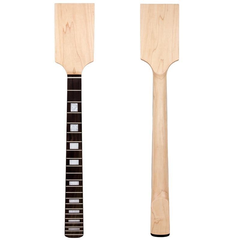 Kmise Paddle Guitar Neck Maple Rosewood Right Lefty Block Inlay Unfinished 2 set electric guitar neck paddle head maple 22 frets dot inlay unfinished