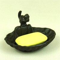 Sevimli Dökme Demir Tarak ve Sincap Minyatür Sabunluk Dekoratif Metal Banyo Süsleme Zanaat Aksesuarları Mobilya|furnishings|scalloped  -
