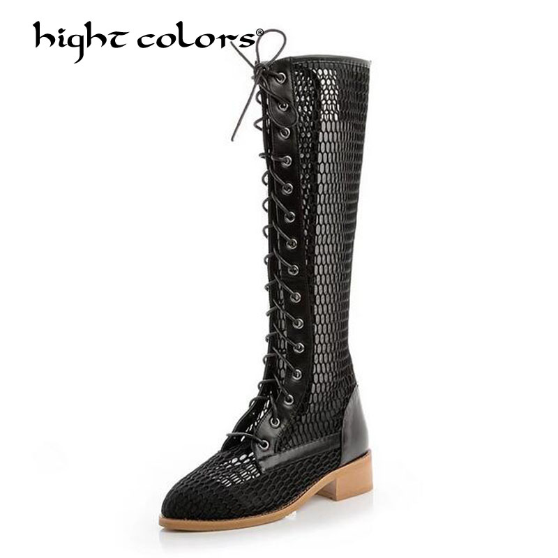 2018 brand design fishnet patchwork spring summer boots shoes front cross tied hollow out square heel runway boot women 1701