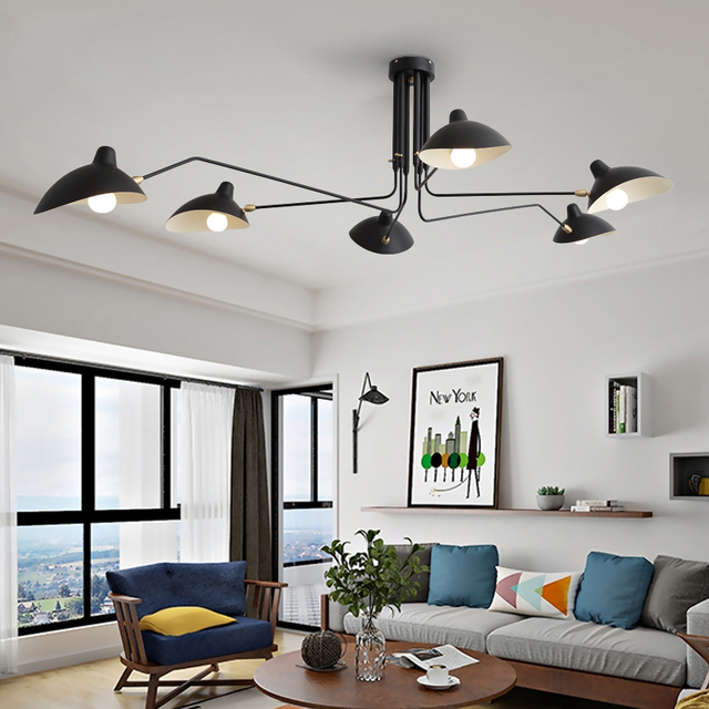 Black Lustre Iron Chandelier Lighting Adjustable Chandeliers Ceiling Loft Living Room Bedroom Kitchen LED Nordic Light Fixtures