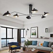 블랙 Lustre 철 샹들리에 조명 조절 샹들리에 천장 로프트 거실 침실 주방 LED 북유럽 전등