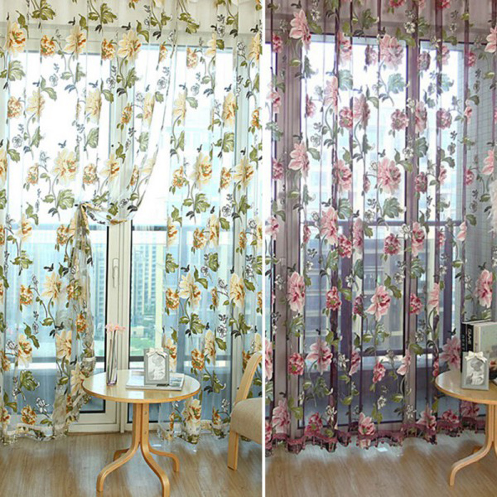 Sheer Curtains With Patterns - Floral pattern tulle window curtain panel sheer voile door room drape scarf valance bead hem voile