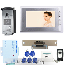 FREE SHIPPING New 7″ LCD Color Video Intercom Door Phone System + Waterproof RFID Reader Camera + Strike Lock In Stock Wholesale