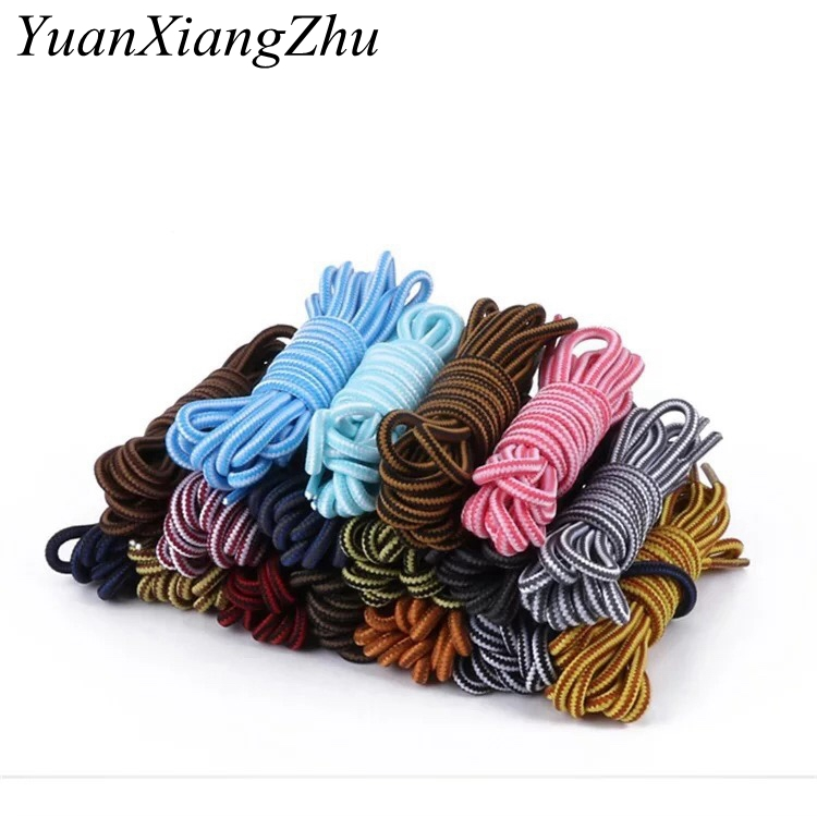 1Pair Round Striped Double Color Shoelaces Unisex Leather Boot Shoe Laces Outdoor Sport Sneaker Fit Strap Shoelaces TW2 100cm flat double deck shoelaces wholesale polyester sneaker shoe lace double striped braid round shoelaces top quality