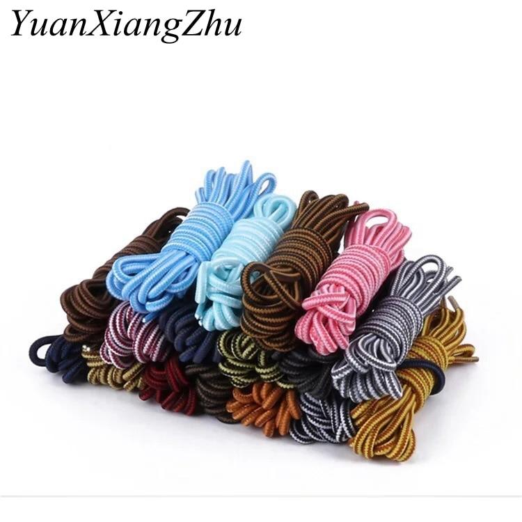 1Pair Round Striped Double Color Shoelaces Unisex Leather Boot Shoe Laces Outdoor Sport Sneaker Fit Strap Shoelaces TW2
