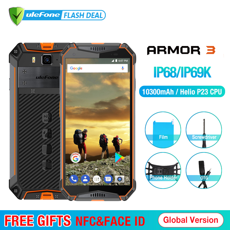 Ulefone Armure 3 IP68 Étanche Mobile Téléphone Android8.1 5.7 FHD + Octa Core 4 gb + 64 gb NFC 21MP 10300 mah Mondial Version Smartphone