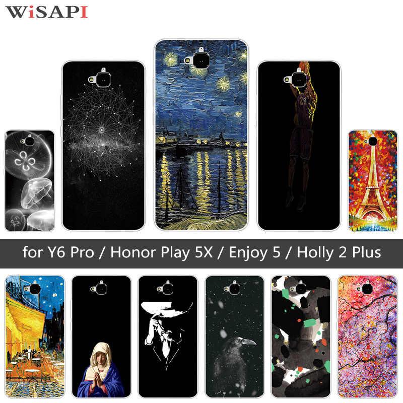 Étui pour Huawei Honor 4C Pro TIT-AL00 Y6 Pro TIT-L01 profiter de 5 Honor Holly 2 Plus couverture de méduses pour Huawei Honor Play 5X