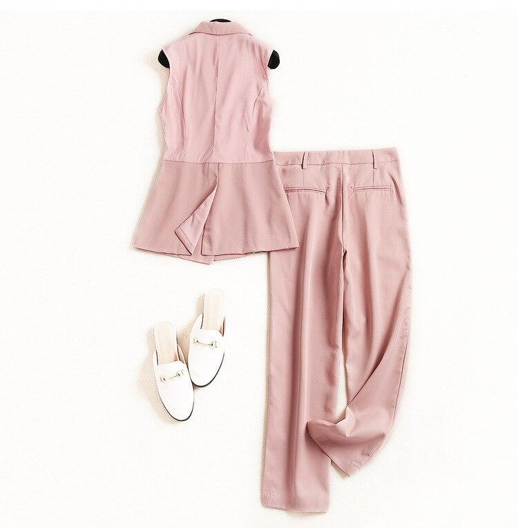 Femmes Printemps De D'impression 2019 Mode Défilé Et 193o434 Designer Pink Marque Costume blue Européenne Été En S4wR8