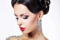 Home decoration face beautiful brunette makeup earrings lipstick Silk Fabric Poster Print RW045
