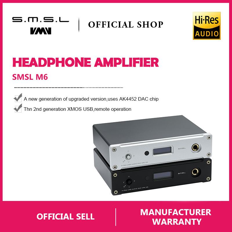 New SMSL M6 HI FI DAC AK4452 Decoder Native DSD512 Amp Asynchronous Multifunction with 32bit/768kHz USB Optical Coaxial Input-in Headphone Amplifier from Consumer Electronics