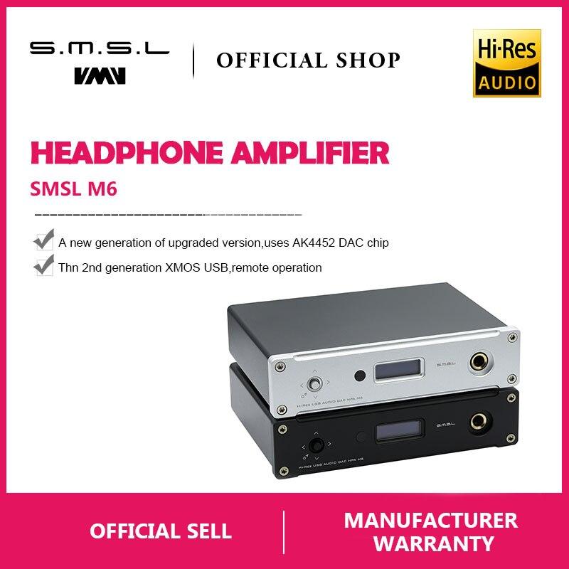 New SMSL M6 HI-FI DAC AK4452 Decoder Nativo DSD512 Amp Asincrono Multifunzione con 32bit/768 khz USB Ottico Coassiale ingresso