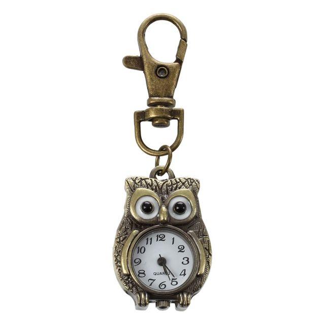 Keychain Clock Keyring Owl Shape pocket watch, 37x24mm
