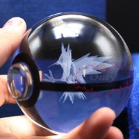 Free Shipping 2017 New Arrive Pokemon Go Plus Zapdos 3D Crystal Ball with Led Light Base for Desk Decoration