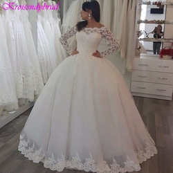 QFS024 robe de mariage Long Sleeves Lace Ball Gowns Wedding Dresses Beautiful Princess Bridal Dresses 2019 Vestidos De Noiva 4