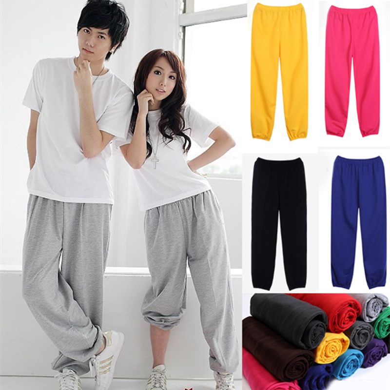 Adults Kids Practice Pants  Costumes Wear Jazz Solid Black Gray Red Green Colorful Harem Hip Hop Dance Pants
