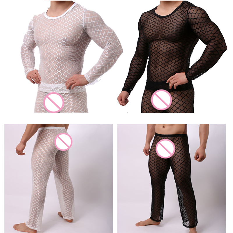 Fishnet Pajamas Sets Mens Tranparent Tank Tops Pants Trousers Mesh Sleep Vest Undershirts Bottoms Sleepwear Underwear Nightwear Men's Pajama Sets Underwear & Sleepwears