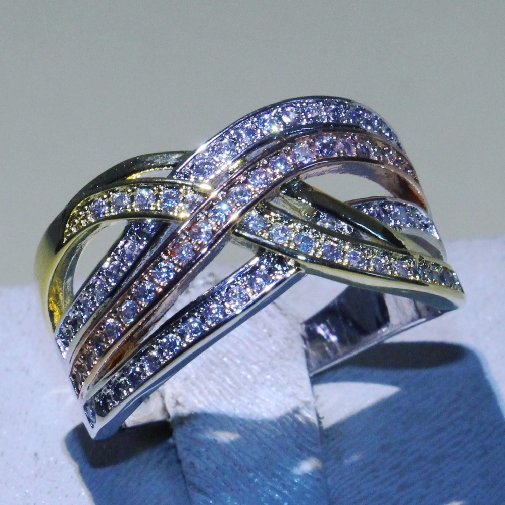 Three Color Brand New Cross Rings Fashion Jewelry 925 Sterling Silver Pave AAA Cubic Zirconia Women