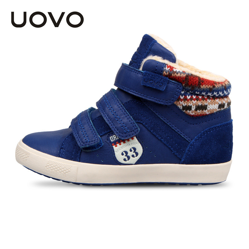 UOVO 2018 New Arrival Boys Winter Shoes Fur Lined Kids Boots Ankle High Children Shoes Hook Loop Brown Navy Blue Size 30-36