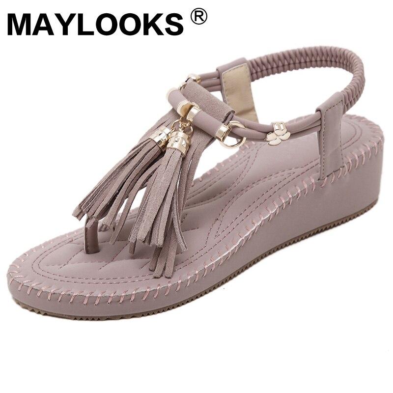 Summer Muffin Thick-soled Comfort Beach Fringe Woman High Heel Sandals M238-10 fringe detail beach sandals