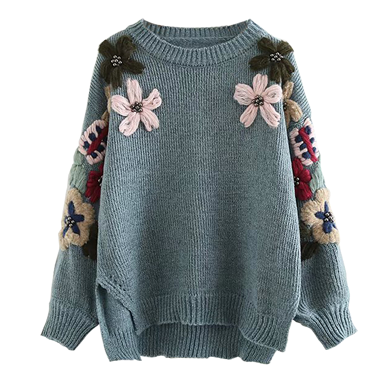 Vintage Boho Sweater for Women Pullovers Floral Embroidered Hand Beading Long Sleeve Sweater Winter Warm Casual Female Jumper