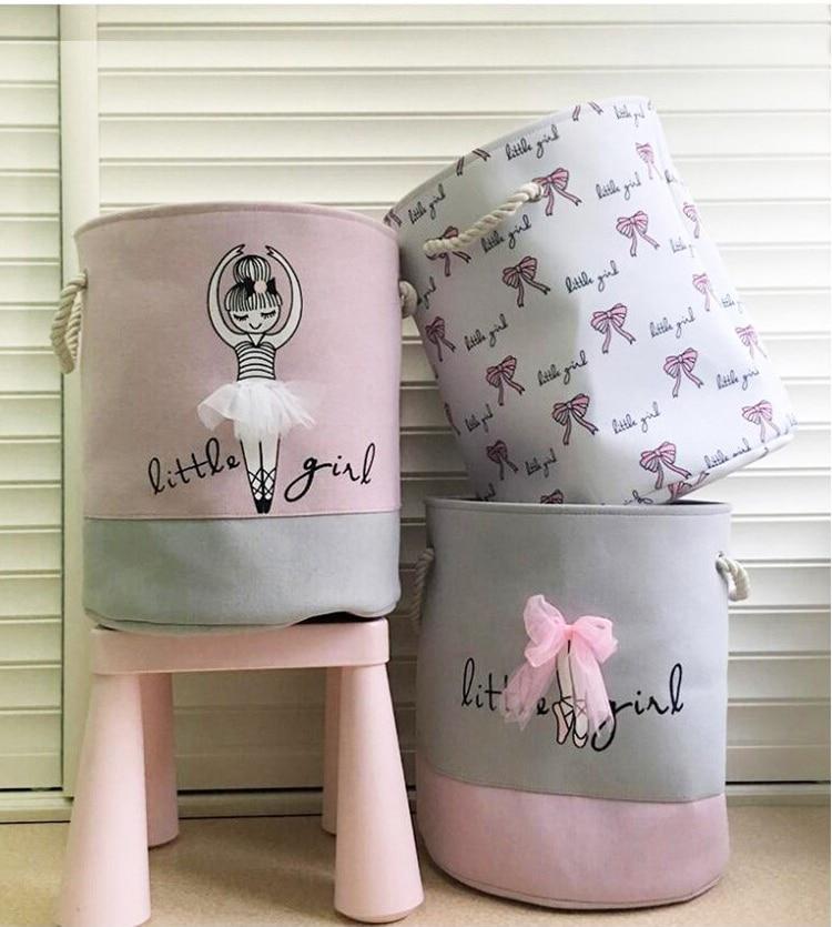 Pink Laundry Basket Organizer For Dirty Clothes Cotton Ballet Girl Bow Print Toys Organizer Home Storage & Organization 35*40 Cm