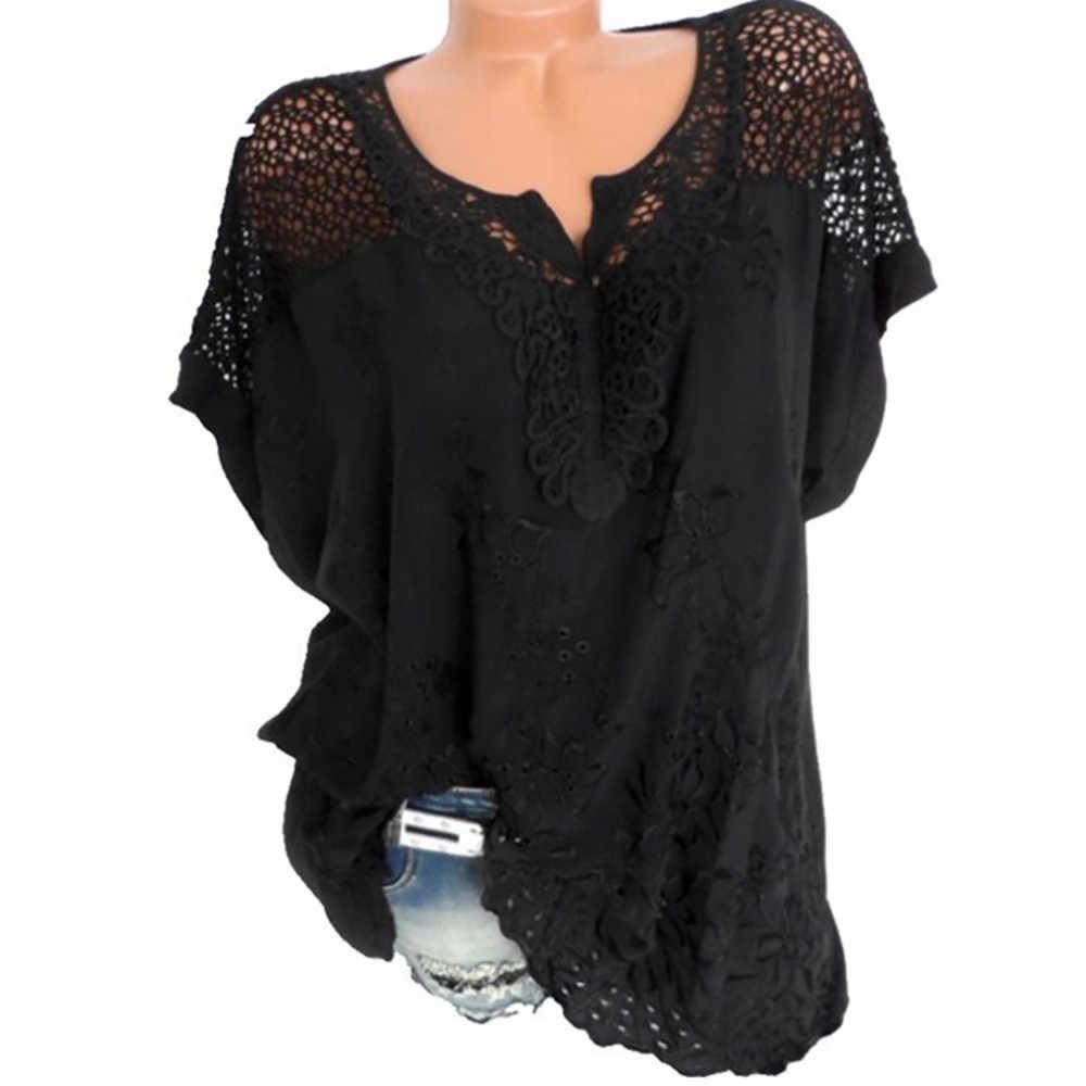 2019 verão tamanho grande das mulheres t-shirt O-pescoço curto-de mangas compridas oco resistente SMLXL2XL3XL4XL5XL camisa casual top T-shirt 40 *