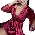 2 Pcs Conjunto de Lingerie Mulheres Pijamas De Seda Sexy Lace Robe Define Plus Size Senhora Camisola Sleepwear