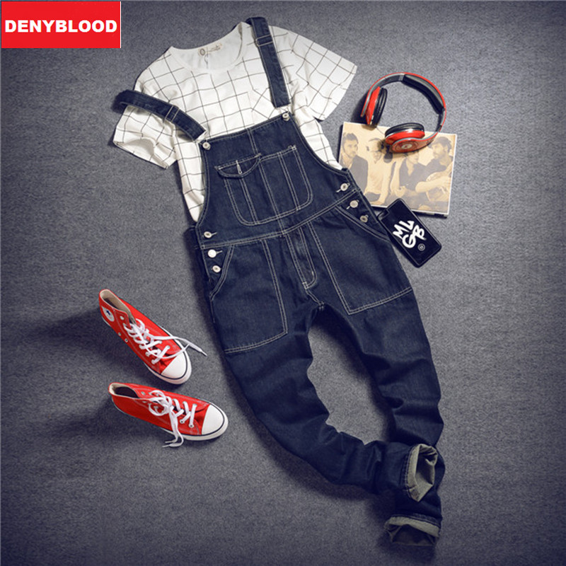 Mens Slim Straight Pants Darked Wash Jeans Denim Jumpsuit Overalls Male Baggy Cargo Pants Suspenders Casual Pants Bibs  261 denim overalls male suspenders front pockets men s ripped jeans casual hole blue bib jeans boyfriend jeans jumpsuit or04